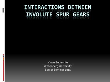 Interactions between involute spur gears - Wittenberg University
