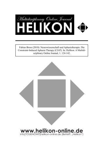 Neurowissenschaft und Aphasietherapie - Helikon. A ...