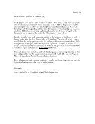 Honors Precalculus Summer Review - American School of Doha