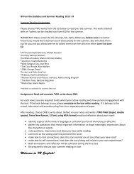 IB English Y1 Syllabus and Summer Reading 2013