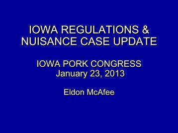 Environmental Workshop - Iowa Pork Producers Association