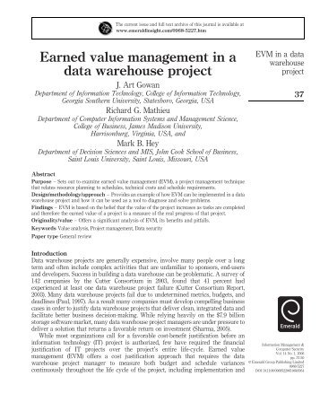 Earned value management in a data warehouse project - Emerald