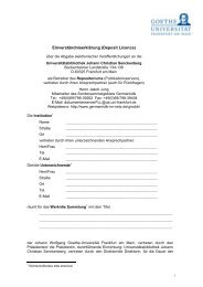 Einverständniserklärung (Deposit Licence) - Germanistik im Netz