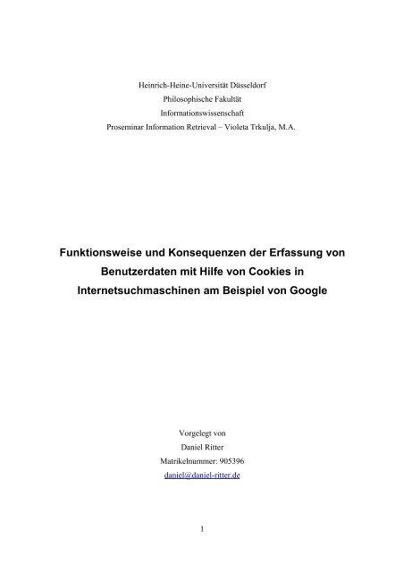 Funktionsweise und Konsequenzen der Erfassung von ...