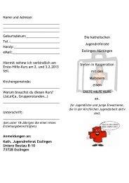 Erste Hilfe Kurs Flyer und Anmeldung - Jugendreferat-es-nt.de