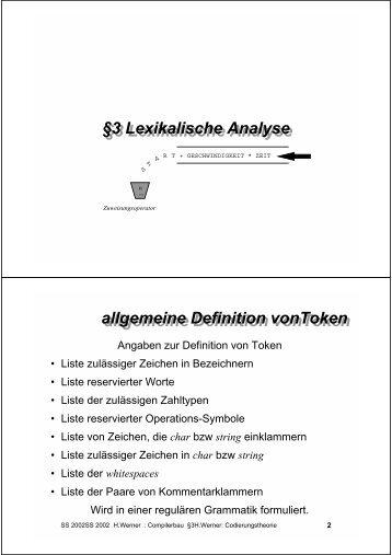 3 Lexikalische Analyse §3 Lexikalische Analyse allgemeine ...