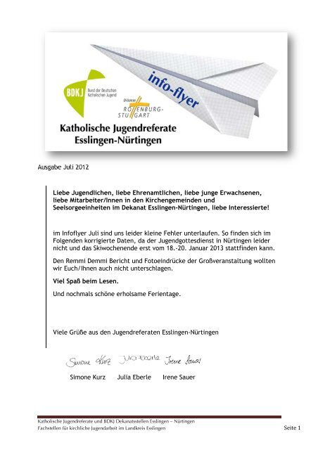 Ausgabe Juli 2012 Liebe Jugendlichen, liebe Ehrenamtlichen, liebe ...