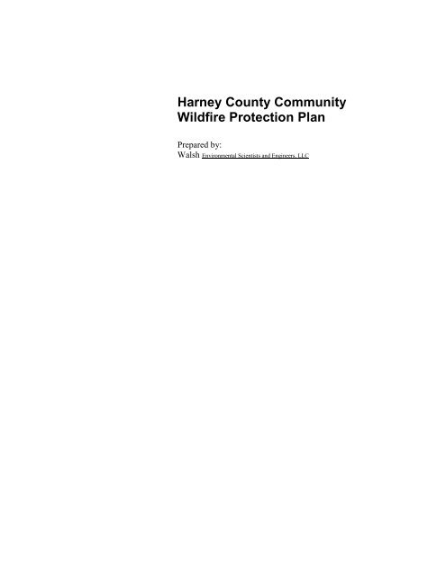 Harney County Community Wildfire Protection Plan