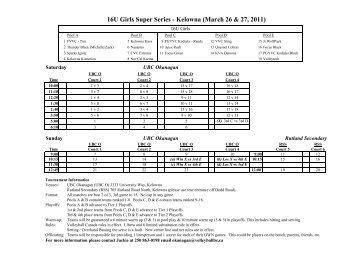 16U Girls Super Series - Kelowna (March 26 & 27 ... - Volleyball BC