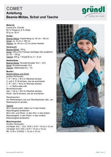 Anleitung Beanie-Mütze, Schal und Tasche - kramers-wollversand