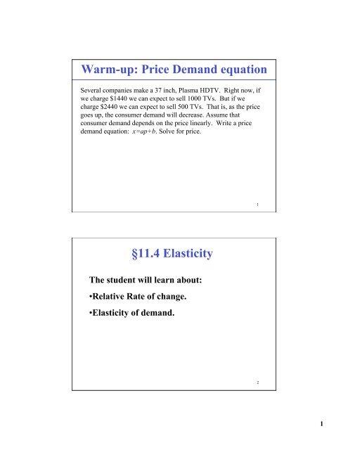 Warm Up Price Demand Equation A 11 4 Elasticity Bruce E Shapiro
