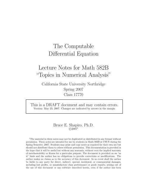 The Computable Differential Equation Lecture     - Bruce E