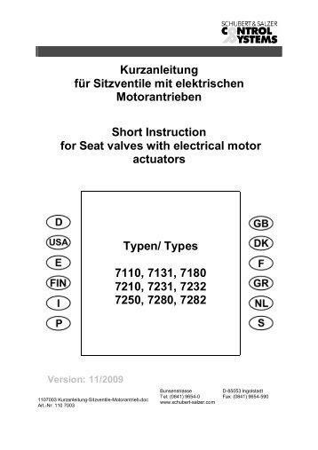 Kurzanleitung für Sitzventile mit elektrischen ... - Control Systems