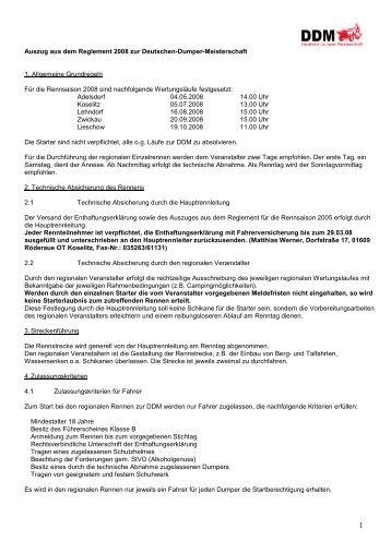 Auszug aus dem Reglement 2008 zur Deutschen-Dumper ...