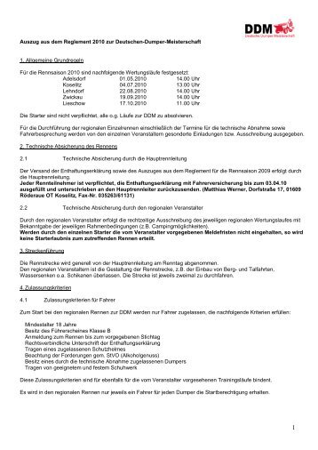 Auszug aus dem Reglement zur Deutschen ... - Ddm-dumper.de