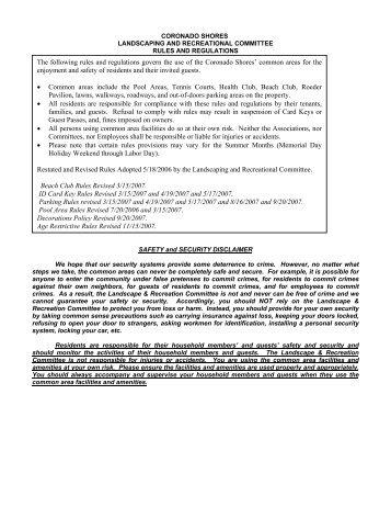 Revised Rules & Regulations - Coronado Shores Condominium ...