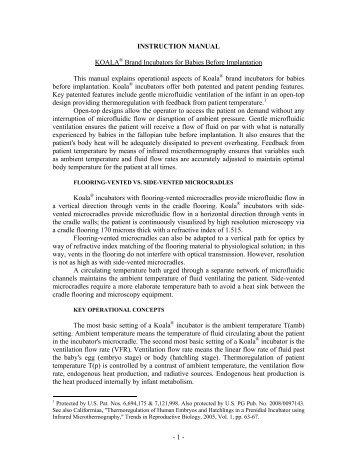 1 - INSTRUCTION MANUAL KOALA® Brand Incubators ... - Juridic.org