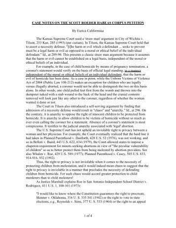 1 of 4 CASE NOTES ON THE SCOTT ROEDER ... - Juridic.org