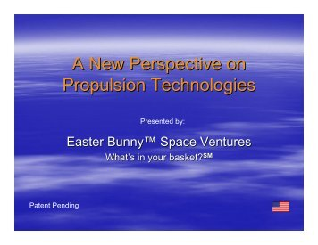 A New Perspective on Propulsion Technologies