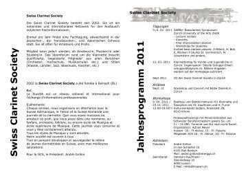 Jahresprogramm des Swiss Clarinet Society