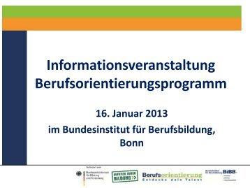 Verfahren zur Antragsrunde - Berufsorientierungsprogramm