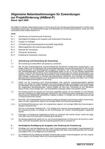 Allgemeine Nebenbestimmungen (BMBF)