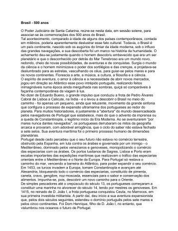 Brasil - 500 anos - Poder Judiciário de Santa Catarina
