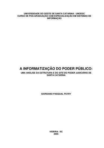 a informatização do poder público - Poder Judiciário de Santa ...