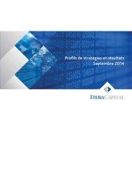 Profils de stratégies et résultats Mars 2013 - Fiera Capital