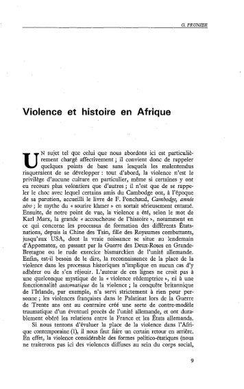 Violence et pouvoir en Afrique - Politique Africaine