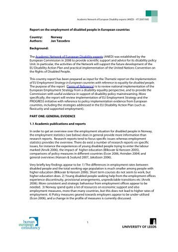 Report on the employment of disabled people in European ... - ANED