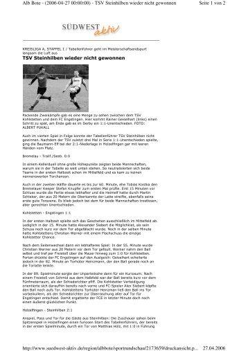 Seite 1 von 2 Alb Bote - (2006-04-27 00:00:00) - TSV Steinhilben ...