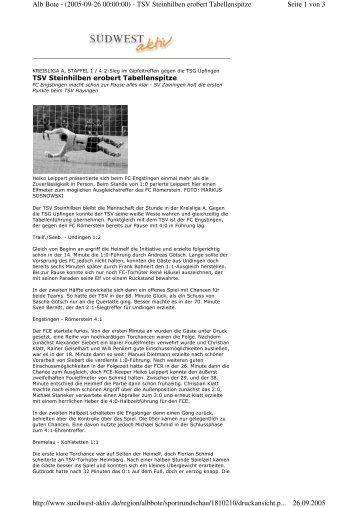 Seite 1 von 3 Alb Bote - (2005-09-26 00:00:00) - TSV Steinhilben ...