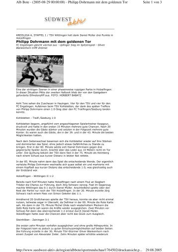 Seite 1 von 3 Alb Bote - (2005-08-29 00:00:00) - Philipp Dohrmann ...