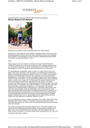 Seite 1 von 2 Alb Bote - (2007-08-14 00:00:00) - Moritz Riekert mit ...