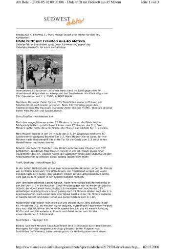Seite 1 von 3 Alb Bote - (2006-05-02 00:00:00) - Uhde trifft mit ...