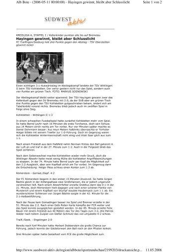 Seite 1 von 2 Alb Bote - (2006-05-11 00:00:00) - Hayingen gewinnt ...