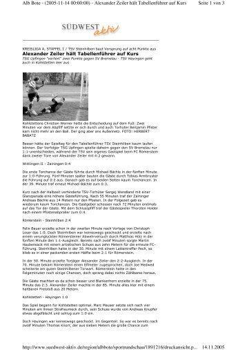 Seite 1 von 3 Alb Bote - (2005-11-14 00:00:00) - Alexander Zeiler ...