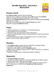 Dae-Mat 2012-2013 – Kelc'hiad 2 REOLADUR Penaos e kerzh ...