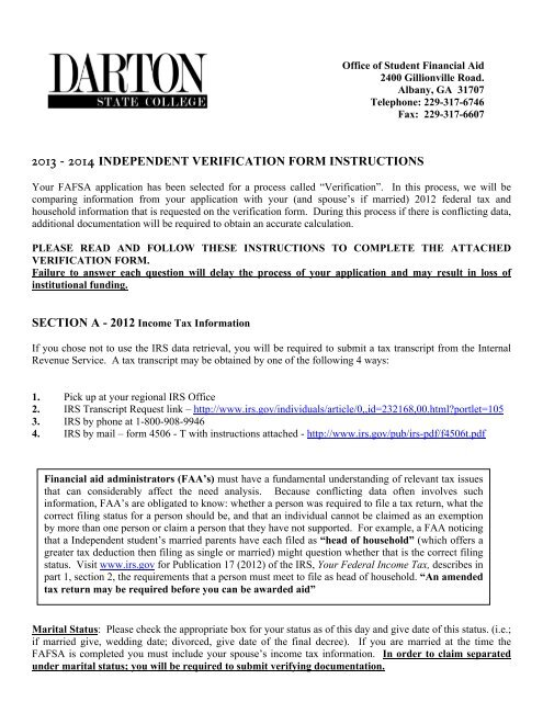 Independent Verification Worksheet - Darton College