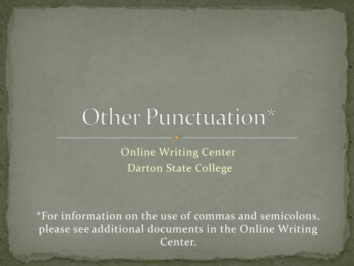 Other Punctuation* - Darton College