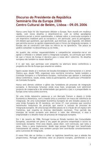 Discurso do Presidente da República Seminário ... - Carlos Coelho