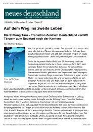 Artikel_NeuesDeutschland_Draeger_2013 - Stiftung Tanz