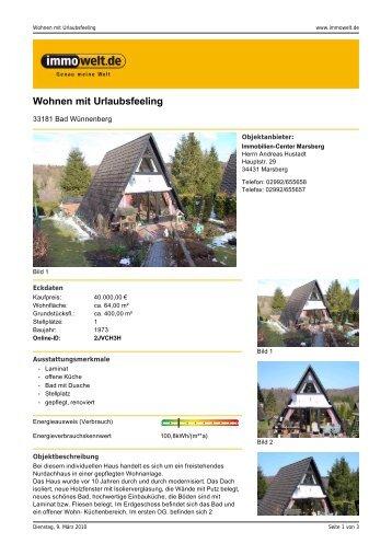 Wohnen mit Urlaubsfeeling - Immobilien-Center Marsberg