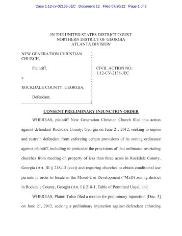 Consent Preliminary Injunction - Alliance Defending Freedom Media