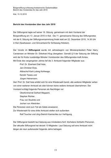Jahresbericht 2010 - Gedenkstätten Schleswig Holstein