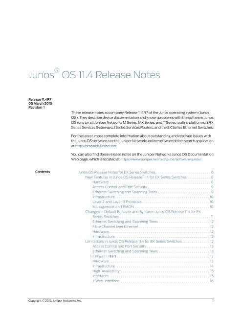 Release Notes - Juniper Networks