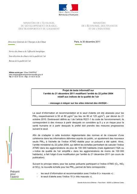 Information_arrete modificatif - Atmo Paca