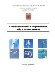 Catalogue des petites éoliennes, ADEME - Parc naturel régional ...