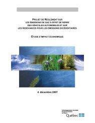 Projet de Règlement sur les émissions de gaz à effet de serre des ...
